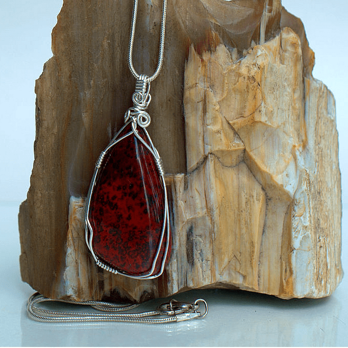 Hematite in red jasper necklace