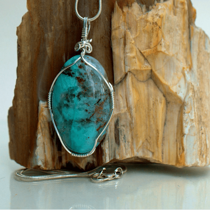 Light blue mineral, chrysocolla pendant necklace