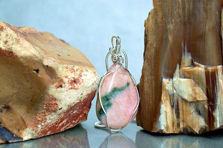 Pink stone pendant, Thulite mineral necklace