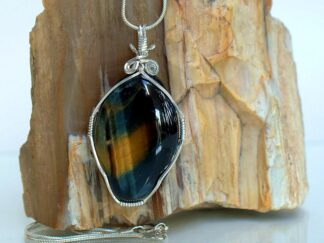 Blue and gold shimmering tiger eye gemstone necklace