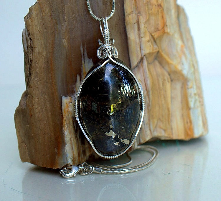 Good fortune stone, Pyrite necklace, Apache gold