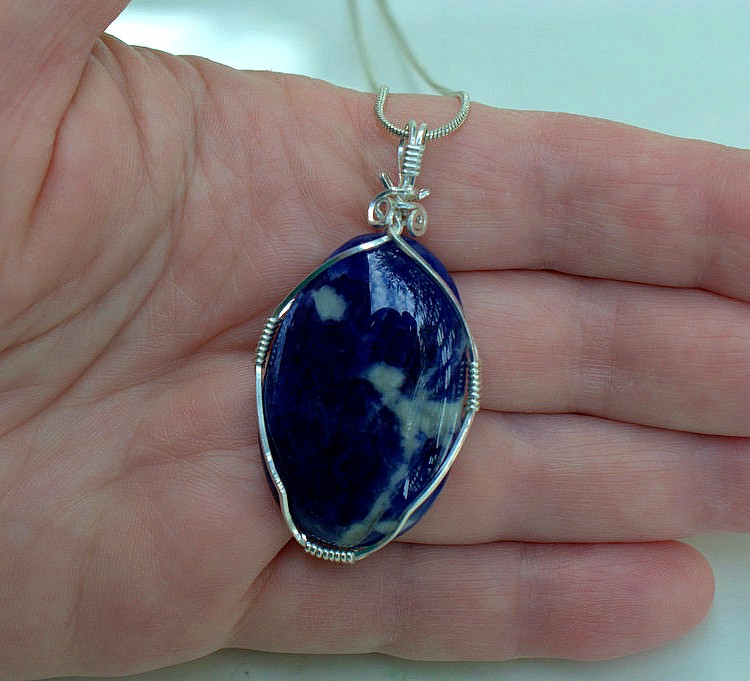 Modern style pendant, blue Sodalite gemstone