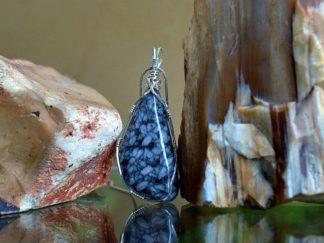 Black gemstone with white speckles