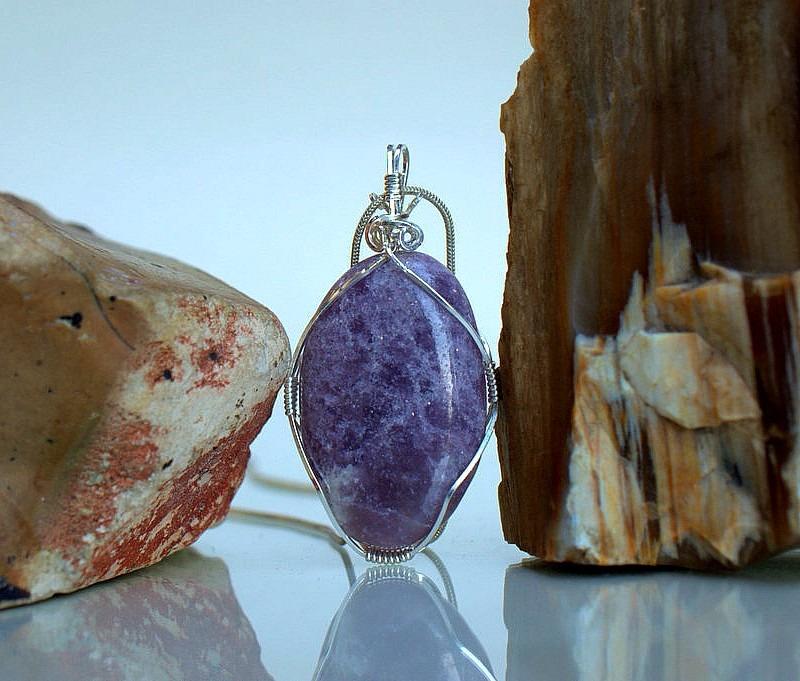 Light purple sparkly mineral handmade jewelry