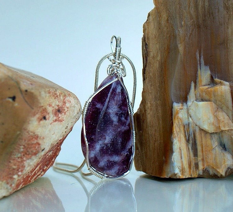 Stone for anxiety Lepidolite necklace