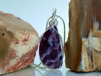 Designed purple Lepidolite gemstone pendant