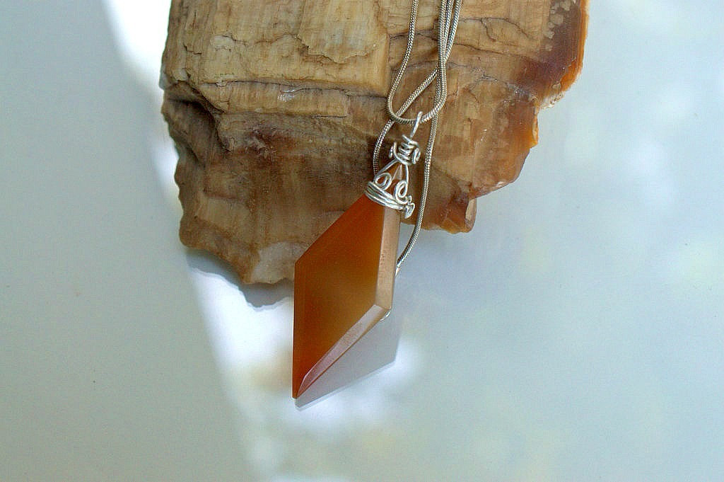 brown crystal necklace