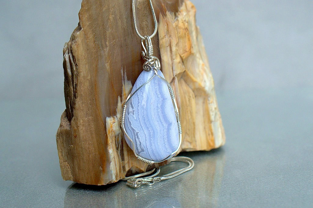 silver wire wrapped agate