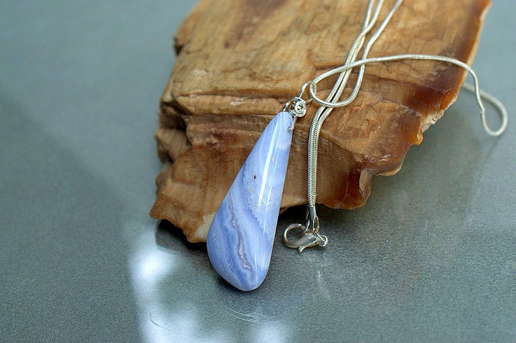 stone and silver pendant