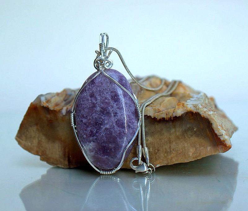Lepidolite necklace, sparkly purple gemstone