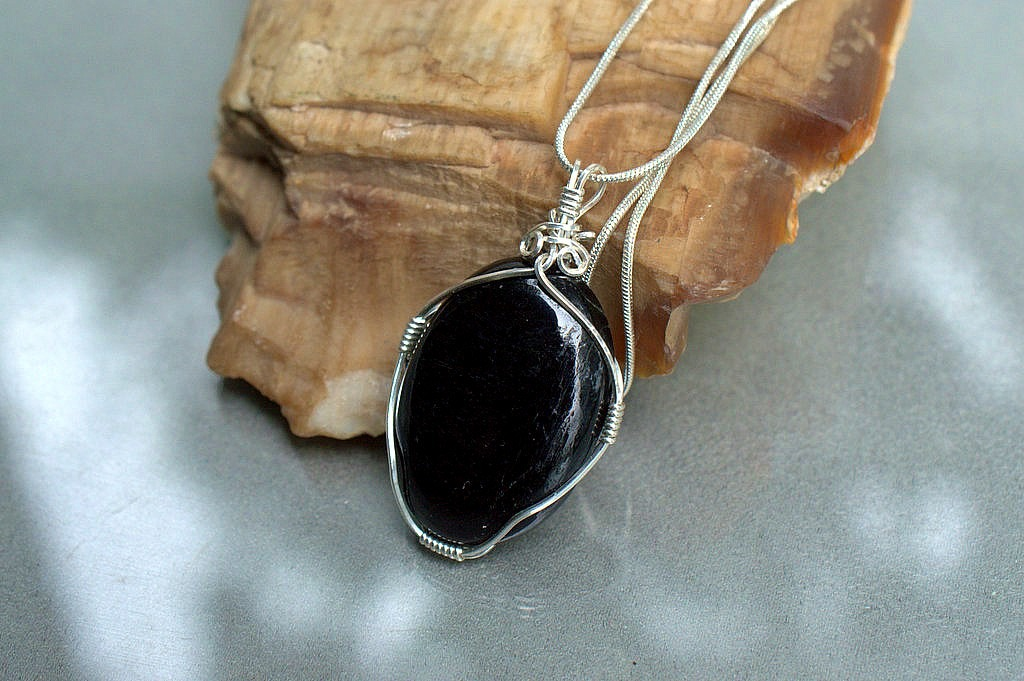 silver set black tourmaline