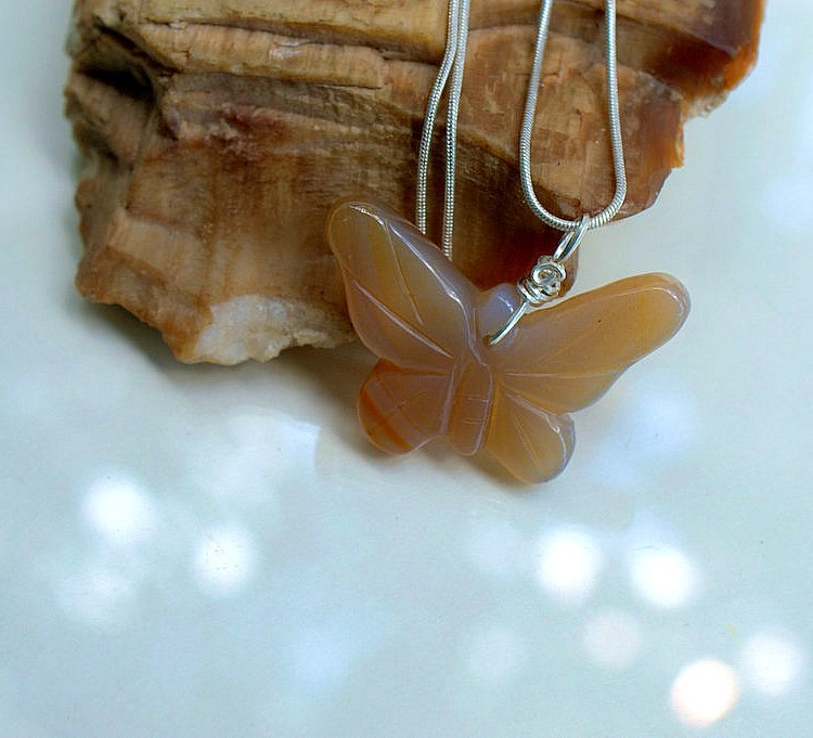 Butterfly pendant, brown agate gemstone carving