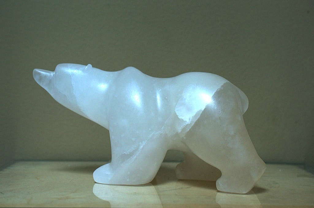 Large white stone hand carved polar bear