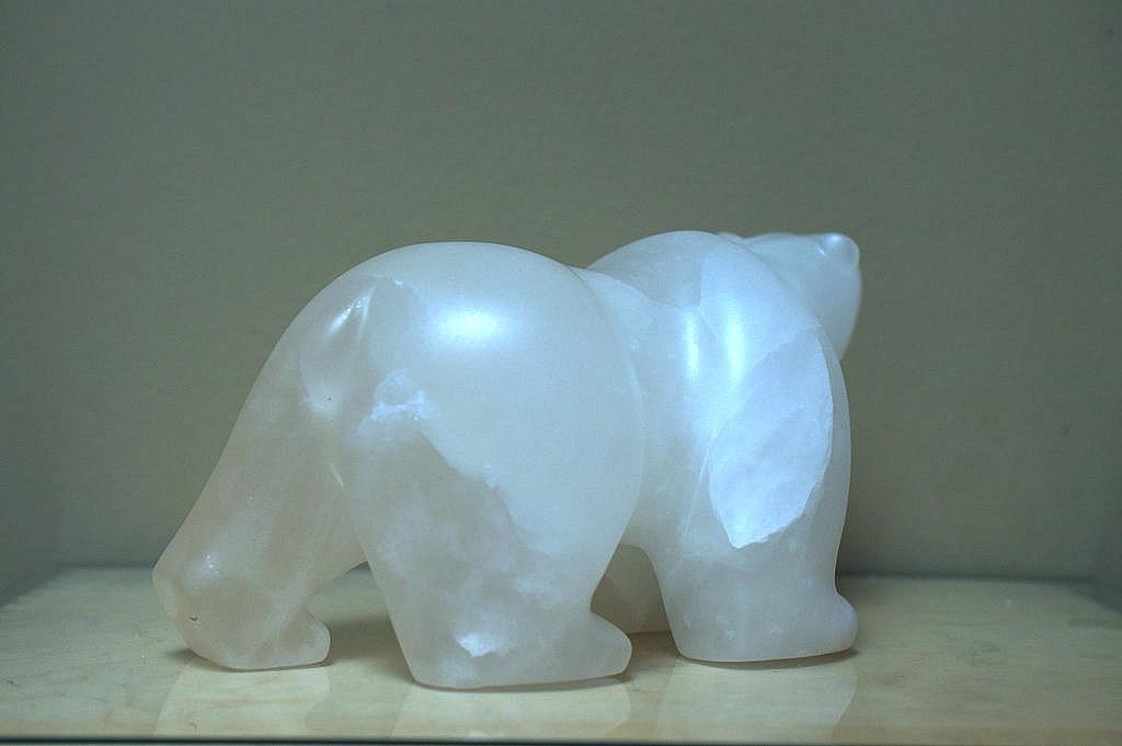 Carved stone polar bear, alabaster figurine