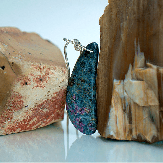 red crystals in blue stone