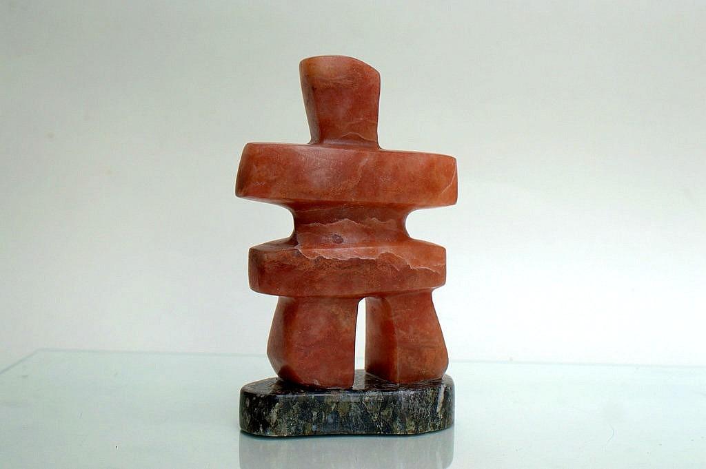 Alabaster Inukshuk, carved Inuit symbol figurine