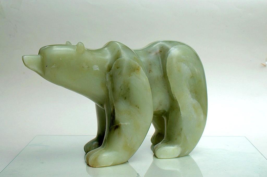 free standing polar bear carving