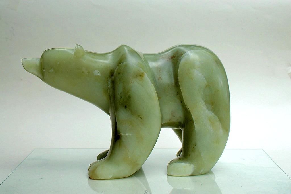 light green soapstone bear