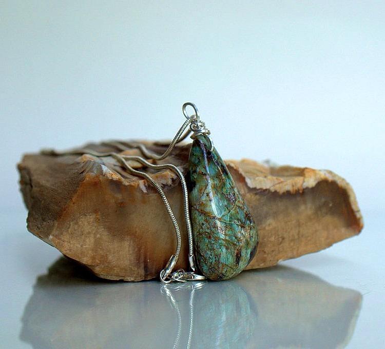 Silver set green stone, Chrysocolla pendant