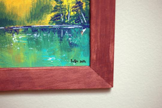 green landscape on wooden board,