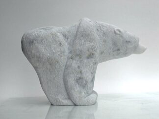 Hand chiseled marble polar bear figurine