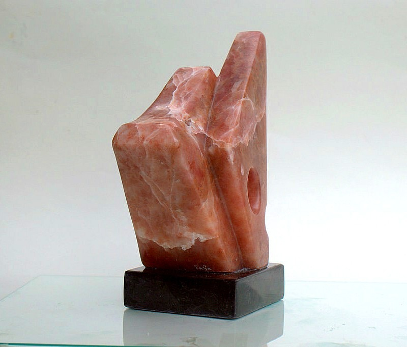 New red stone carving, abstract eagle sculpture