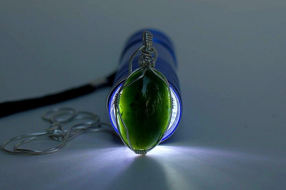 Canadian polar jade, silver set oval pendant