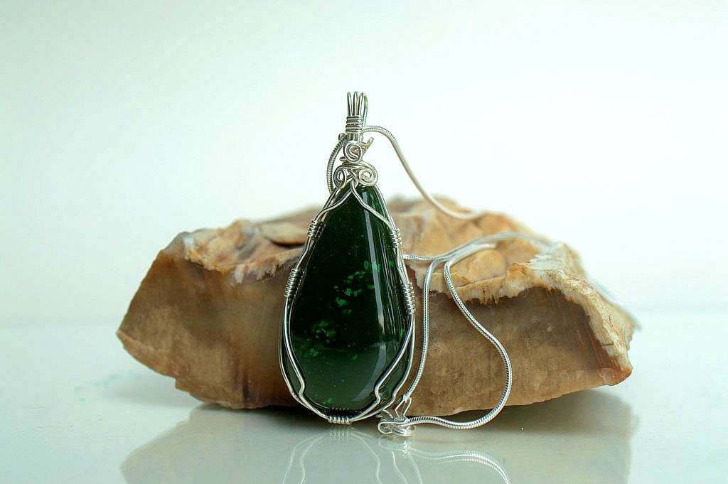 Tall and wide green Jade stone silver set pendant