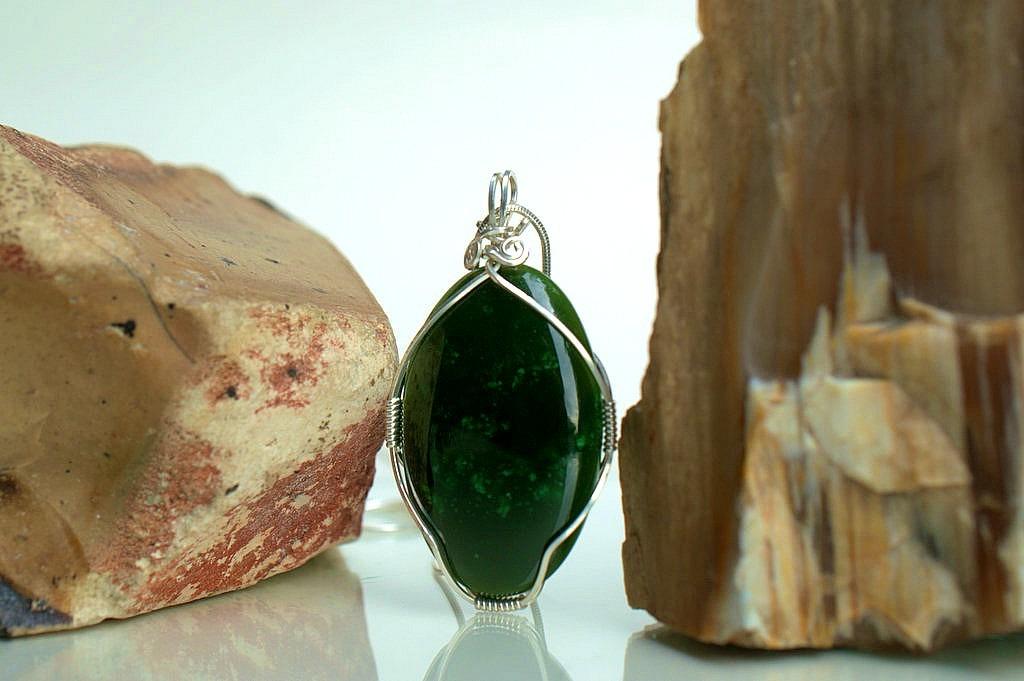 Jade pendant jewelry genuine dark green gemstone