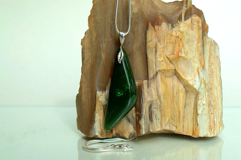 Large size modern size Jade pendant with bail