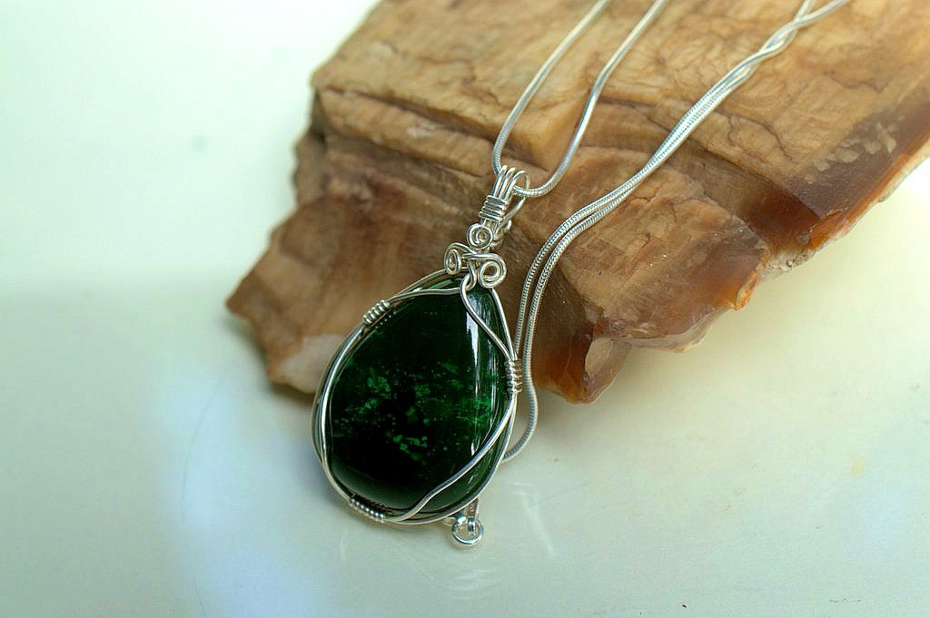 Unisex Jade pendant, handmade gemstone jewelry