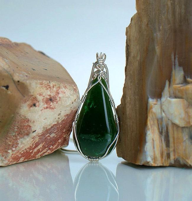 Sterling silver wire wrapped teardrop shape jade pendant