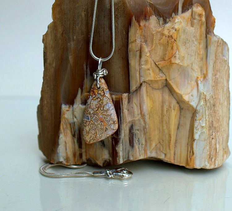 Mexican crazy lace agate charm necklace