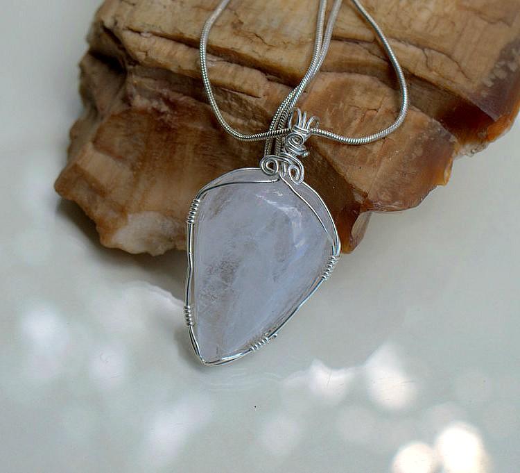 Natural Quartz crystal pendant, handmade jewelry