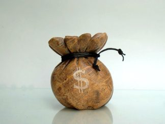 Brown soapstone carving of a money bag
