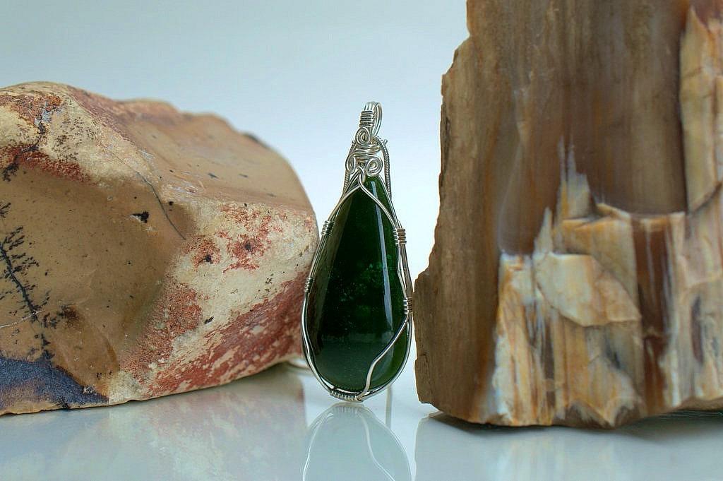 Jade and silver pendant hand cut genuine stone