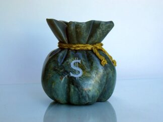 Green soapstone money bag carving wit dollar sign