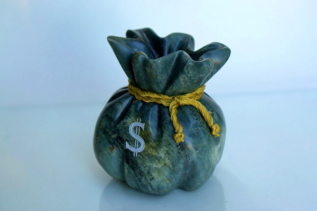 Money bag, soapstone carving, desktop display
