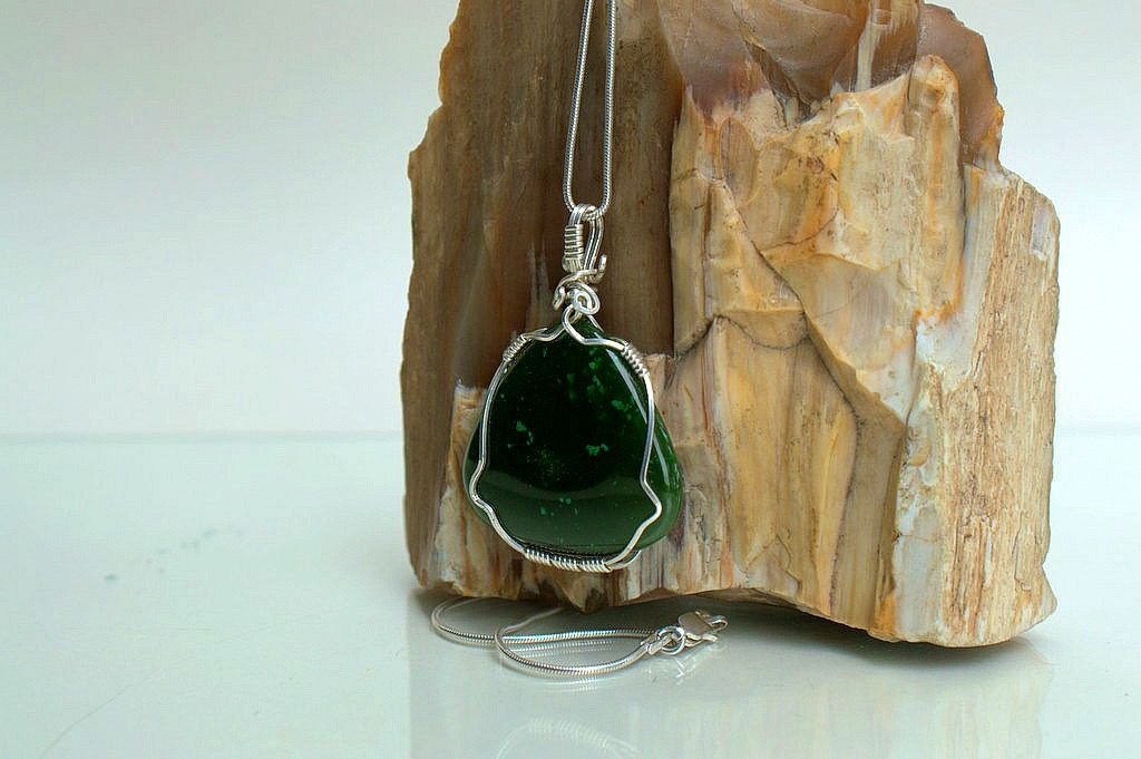 Natural Jade pendant with silver wire wrapping