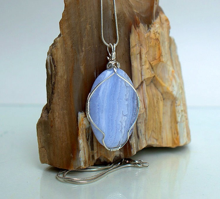 Baby blue agate necklace, large stone pendant