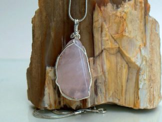 Large pink crystal pendant with silver setting