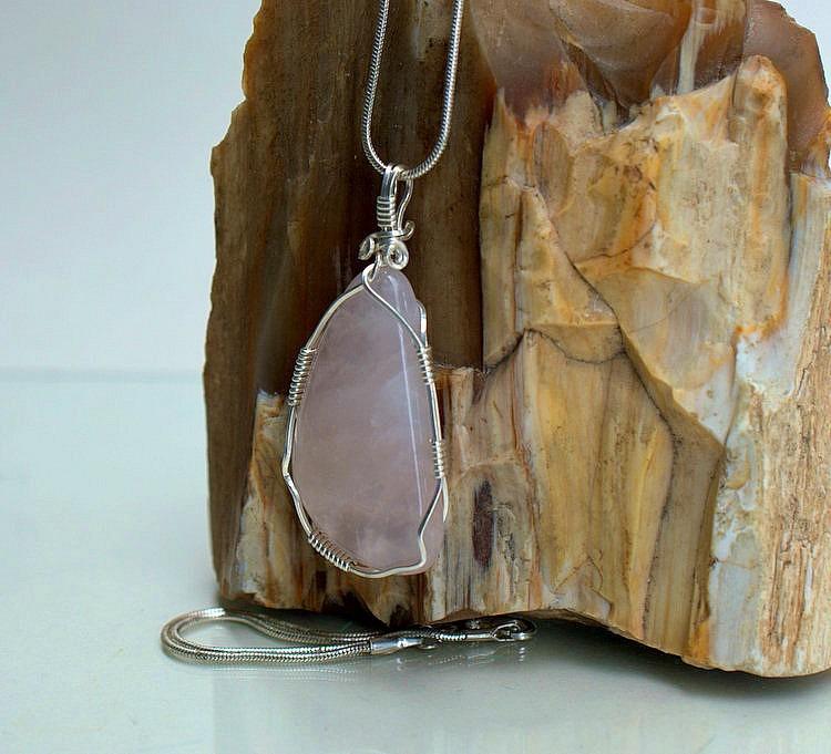 Rose Quartz jewelry, polished crystal pendant