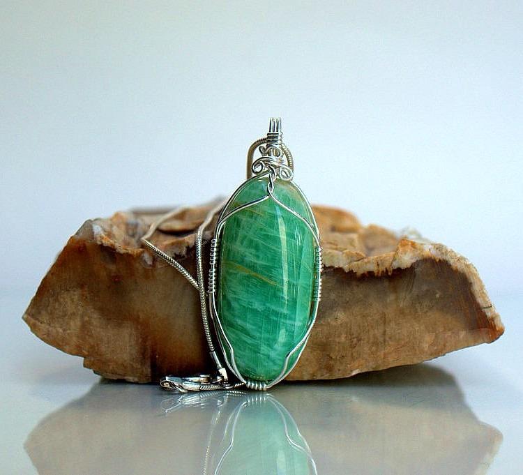 Green crystal pendant Amazonite gemstone jewelry