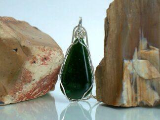 Large teardrop shape Canadian jade pendant