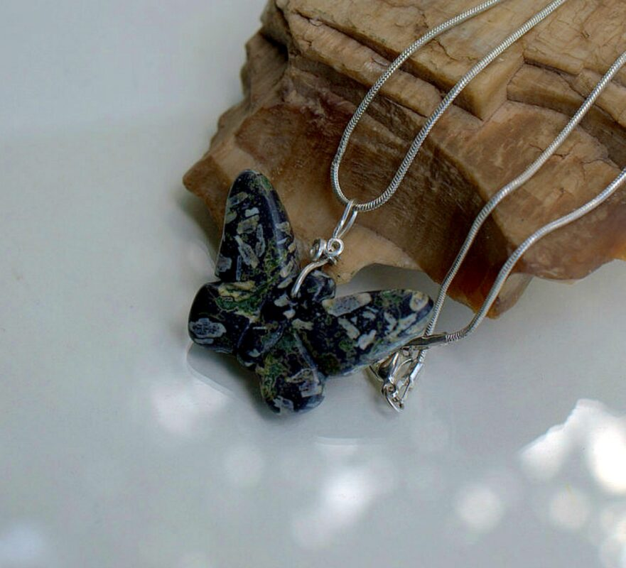 Black butterfly, semi precious stone necklace