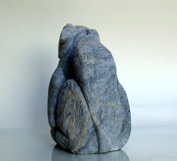 Big bad wolf, gray natural marble stone carving