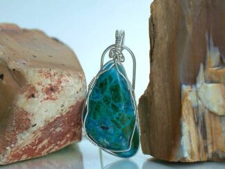 Peruvian blue green gemstone pendant