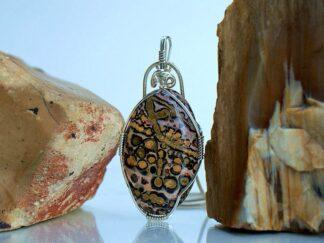 Leopard fur looking pattern Jasper stone pendant