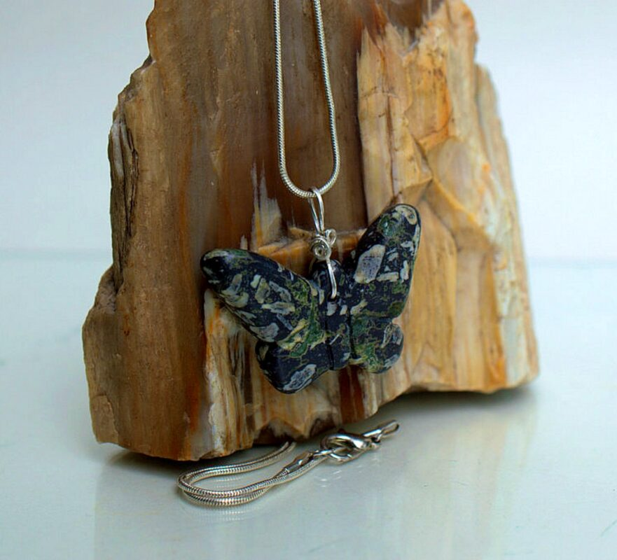 Black stone butterfly gemstone necklace