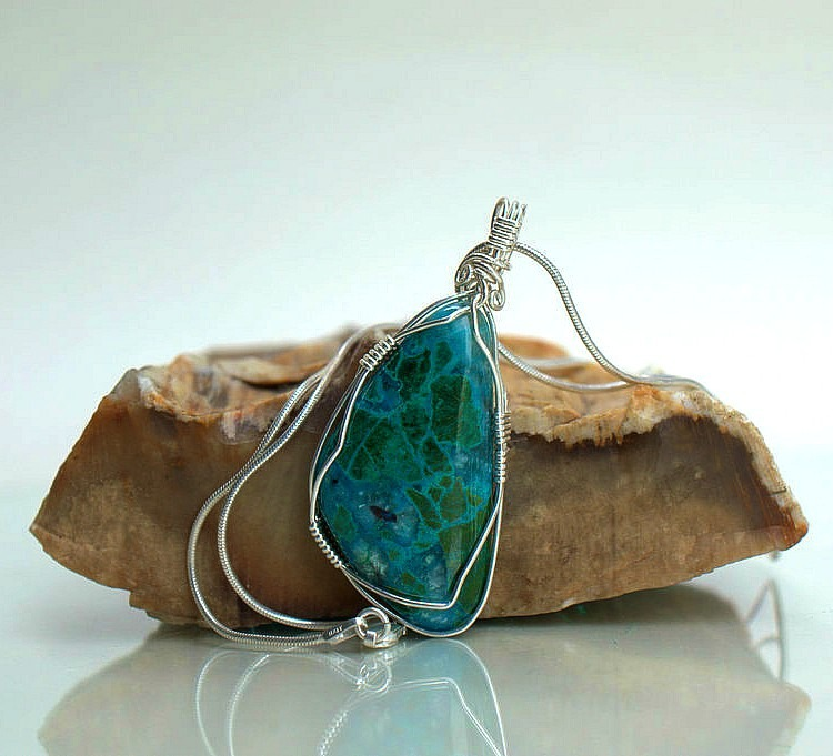 Natural blue stone pendant, Peruvian Chrysocolla